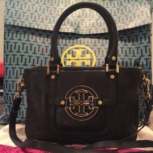 Tory Burch Black Leather Amanda Mini Satchel Bag